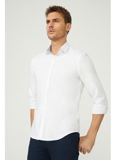 Avva Erkek  Düz Alttan Britli Yaka Gömlek A02Y2177 Beyaz